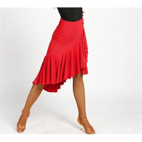 Women's black red latin dance skirts fringes salsa samba chacha dance skirts