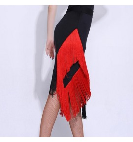 Women's black with red fringes latin dance skirts salsa rumba chacha dance skirts