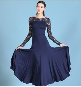 Women's girls navy ballroom dancing dresses pink lace long sleeves waltz tango dance dresses