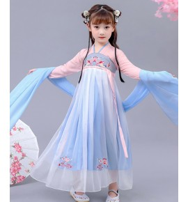 Hanfu Girls chinese folk dance costumes children kids  fairy princess drama cosplay dresses