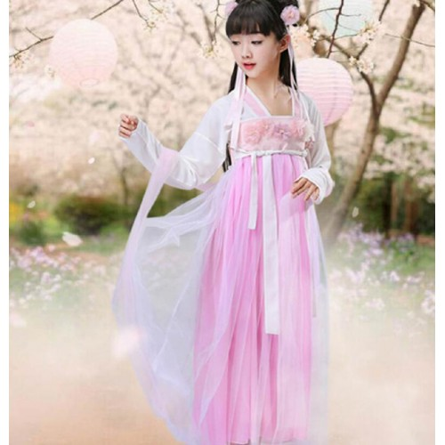 Girls hanfu children chinese folk dance dress pink fairy princess drama cosplay dress