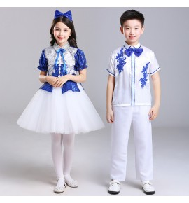 Girls boys white with blue jazz dance costumes children shcool competition chorus stage performance dress