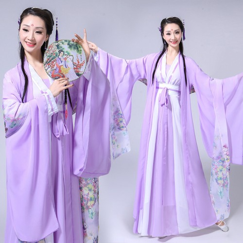 Chinese ancient violet Hanfu tang dyansty  fairy princess cosplay dress Women's chinese folk dance costumes