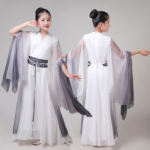 Girls kids hanfu fairy cosplay dress white with black gradient colored chinese folk dance costumes