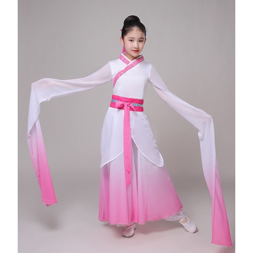 ancient traditional chinese kids girls pink blue hanfu water sleeves fairy dress Chinese folk dance costumes