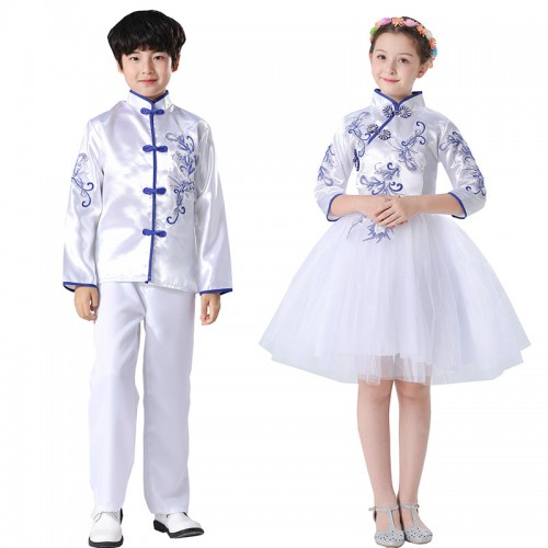 Girls boys china style shool chorus singers stage performance dress poetry reading competition costumes