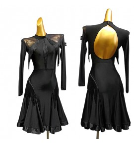 Women's black fringes latin dance dresses stage performance salsa rumba chacha dance dresses