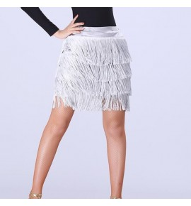 Women's silver fringes latin dance skirts layer tassels modern dance skirts stage performance salsa rumba chacha dance skirts