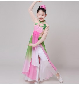 Girls kids chinese folk dance costumes fairy ancient classical dance dress umbrella fan dance costumes