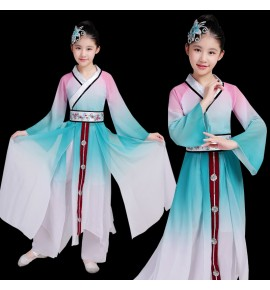 Girls chinese folk dance costumes kids fairy cosplay dress ancient traditional umbrella yangko dance costumes