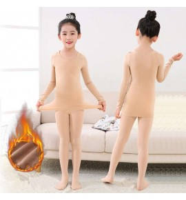 Girls kids flesh colored ballet latin dance invisible underwear fleece lining thermal underwear