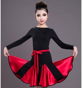 Girls kids competition latin dance dress stage performance salsa rumba chacha dance dresses