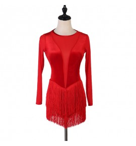 Women's girls black red velvet fringes latin dance dress salsa rumba chacha latin body dresses