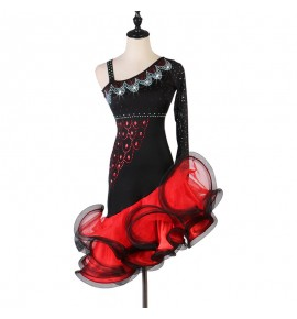 Black with red ruffles one shoulder women latin dance dresses stage performance rumba chacha dance dresses
