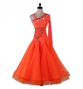 Orange competition ballroom dancing dress for women female girls waltz tango dance dresses