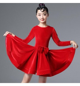 kids children Royal blue red velvet  latin dance dresses salsa chacha ballroom dancing dresses