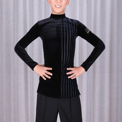 boy black velvet latin ballroom dance shirts kids children stage performance chacha dance tops