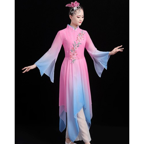 Women's pink fairy cosplay dress  hanfu dress chinese yangko umbrella fan dance dress costumes
