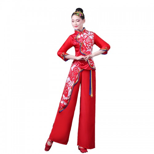 Women's chinese folk dance costumes ancient chinese dress traditional yangko umbrella fan dance costumes