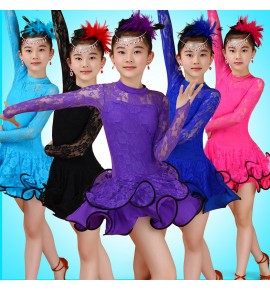 Girl Lace Long Sleeves Latin Dancewear Standard Kids Latin Competition dance Dress Children Salsa Ballroom Dancing costumes