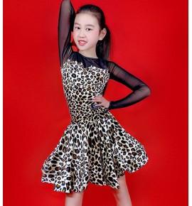girls kids Leopard competition latin dance dresses children modern dance ballroom dancing salsa chacha dance dresses
