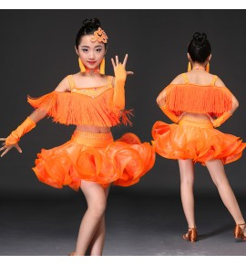 tassel children Latin dance costumes women practicing service Latin dance dress performance girls salsa cha cha samba tango