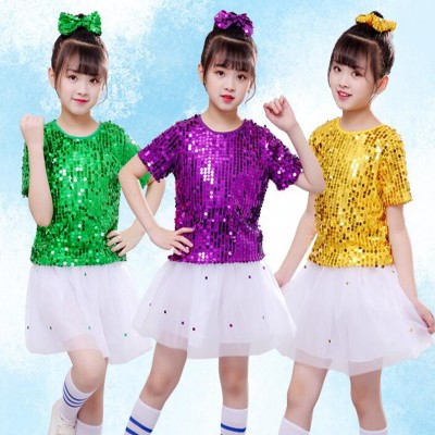 Boy kids green gold purple sequin jazz dance costumes gogo dancers singers cheerleaders school competition show performance tops and shorts