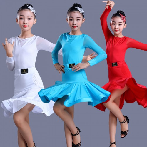 Girls kids blue white red latin dance dresse competition ballroom salsa chacha dance dresses