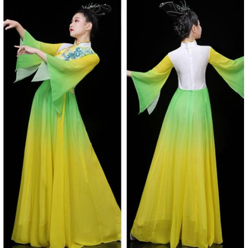 Women's green with yellow gradient chinese folk dance costumes fairy hanfu yangko classical traditional dance dress