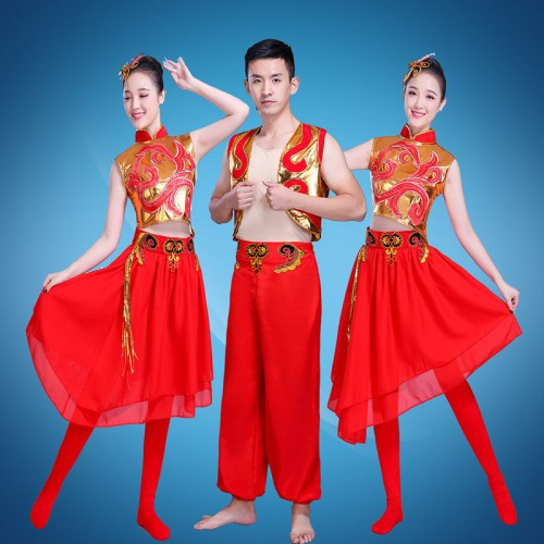 Women's men's chinese folk dragon drummer dance costumes stage performance chinese yangko dance costumes