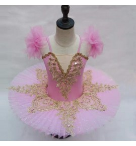 Kids little swan lake ballet dance dresses baby children ballerina classical pancake skirt ballet dance dress