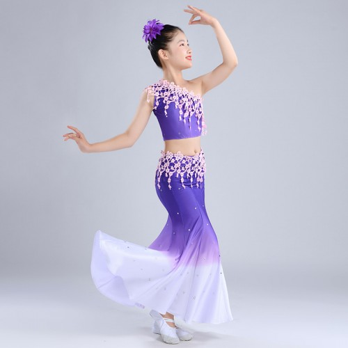 Girls kids violet chinese folk dance costumes peacock dance dress children belly dance costumes
