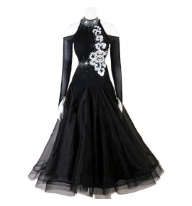Women's girls royal blue black competition ballroom dancing dresses waltz tango dance dress costumes