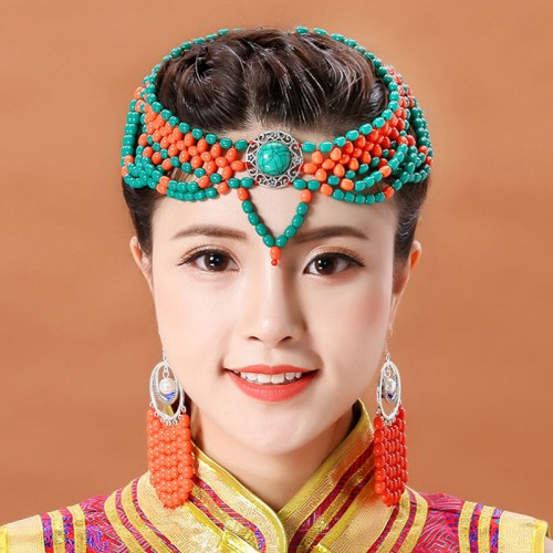 Ladies Mongolian Dance Performance Bead Headdress Handmade Beads Ethnic Dance Mongolian Clothing Accessories