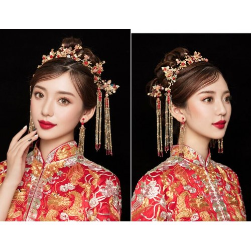 Chinese wedding brides headdress traditional ancient empress princess cosplay hair accessories