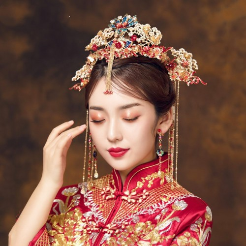 Chinese wedding party bridals phoenix headdress traditional drama film empress queen cosplay phoenix hair accessories