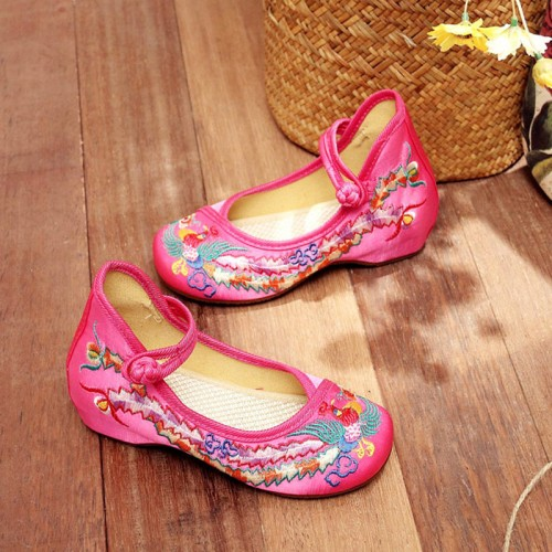 Baby Hanfu clothing shoes Chinese style retro girls show phoenix embroidered shoes casual princess fairy performance shoes