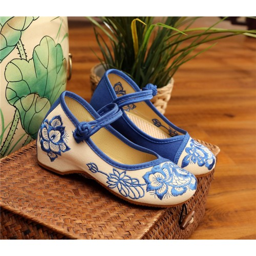 Girls Hanfu shoes clothing embroidered shoes children baby cloth shoes Chinese style retro performance shoes