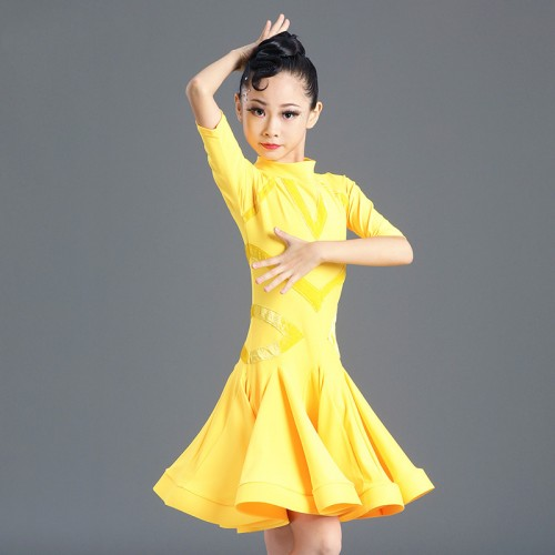 Girls kids competition yellow latin dance dresses stage performance latin dance skirts ballroom dance dress for children