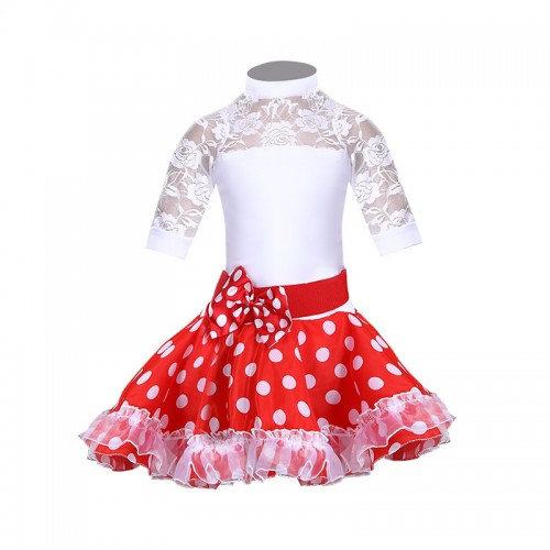 Girls red with white polka dot Latin dance clothing  professional stage performance children Latin dance skirts art test standards latin dress for kids