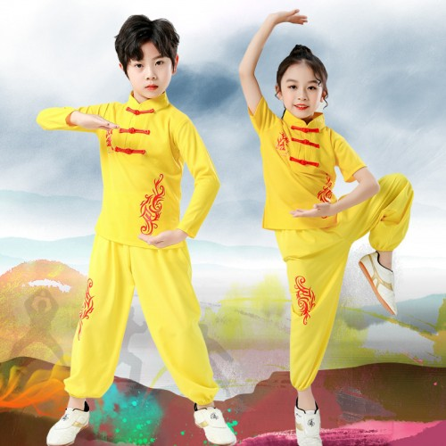 Children  martial arts costumes Girls Boys wushu Performance clothes Chinese Tai Chi Kungfu competition training suit for kids