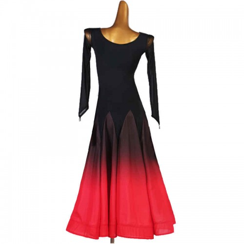 Women black with red gradient colored ballroom dance dresses female professional waltz tango dance costumes