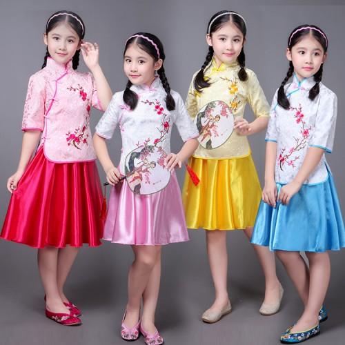 964deb1c8 ... Chinese folk dance princess dress for children girls photos drama  cosplay hanfu students china style cheongsam