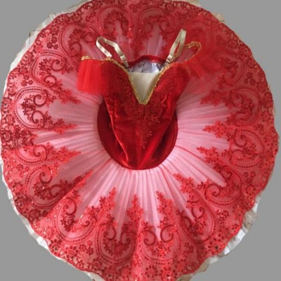 Adult Ballet Dress women female ballerina solo competition pancake Red Tutu skirt Swan Lake Performance Ballet Costumes