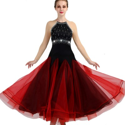 Adult children ballroom dancing dresses black with wine girls stage performance waltz tango competition professional dancing dresses