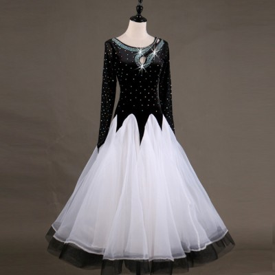 Adult children ballroom dancing dresses for women girls black and white yellow red rhinestones professional competition ballroom modern dance dress