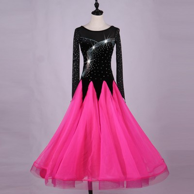Adult children ballroom dancing dresses pink with black rhinestones long length waltz tango competition dancing dresses