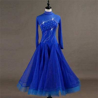 Adult children ballroom dancing dresses professional competition royal blue waltz tango long length big skirt dress
