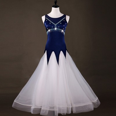 Adult children navy with white ballroom dancing dresses abiti da ballo valzer waltz tango dancing costumes dress