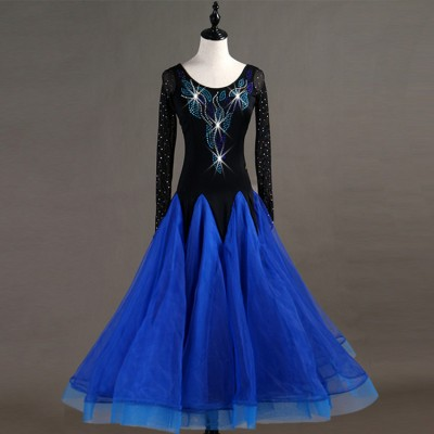 Adult girls ballroom dancing dresses for women black with royal blue stones competition stage performance waltz tango long length skirt dresses